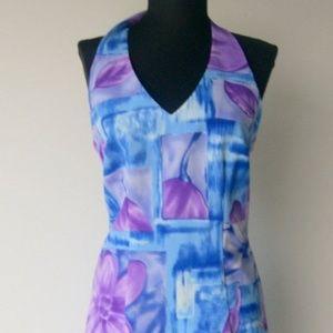 Vintage 1980s Halter Style Hawaiian Print Dress